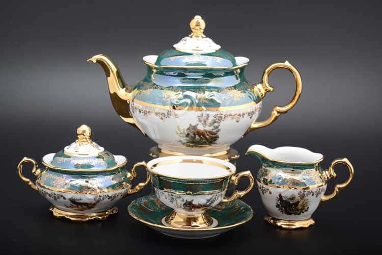 Фредерика Зеленая охота Чайный сервиз на 6 персон 17 предметов Moravec