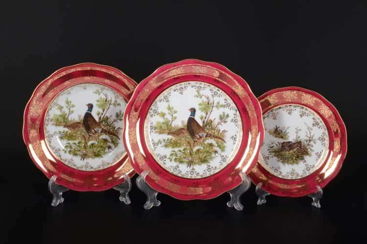 Охота Красная Набор тарелок 18 предметов SYKORA