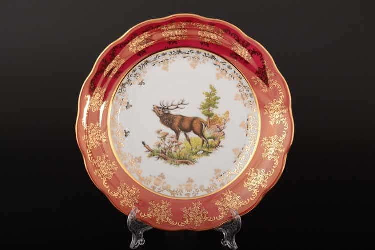 Охота Красная Набор тарелок 21 см SYKORA (6 шт)