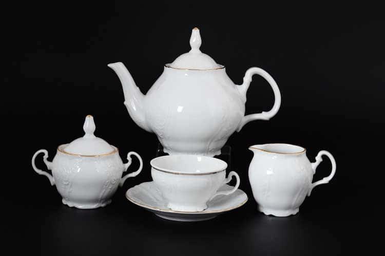 Белый узор Е-М Чайный сервиз на 6 персон 15 предметов Jeremy