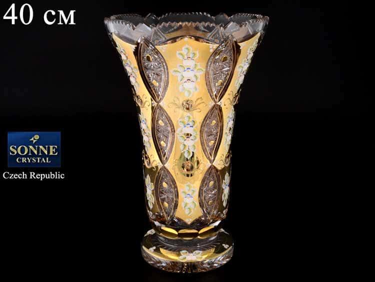 Sonne Crystal Золото Ваза для цветов 40 см на ножке