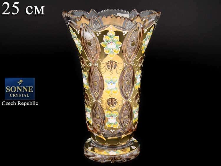 Sonne Crystal Золото Ваза для цветов 25 см на ножке