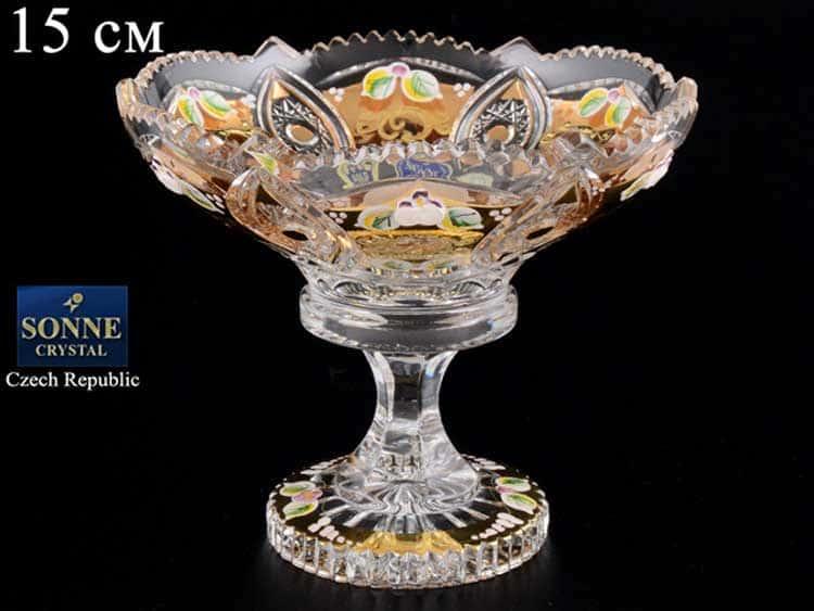 Sonne Crystal Золото Ваза для конфет 15 см на ножке