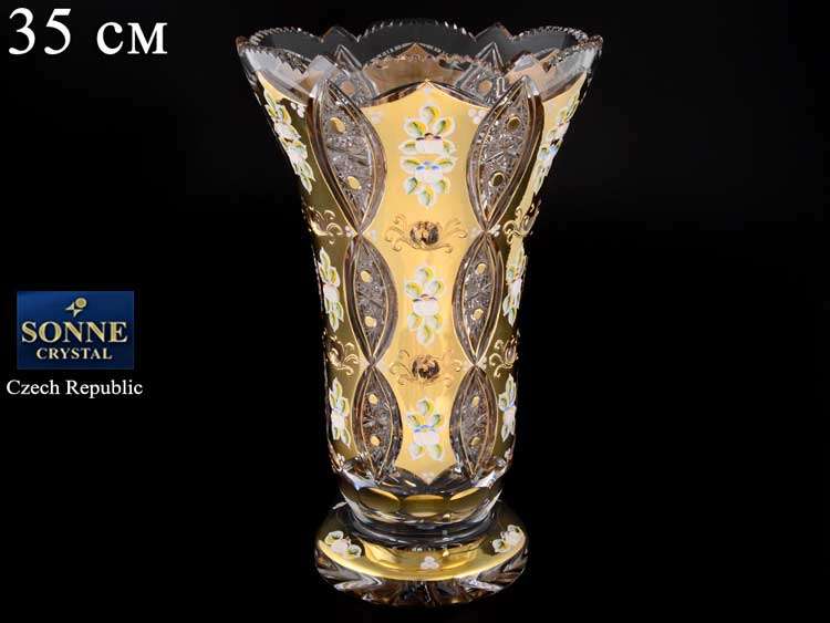 Sonne Crystal Золото Ваза для цветов 35 см на ножке