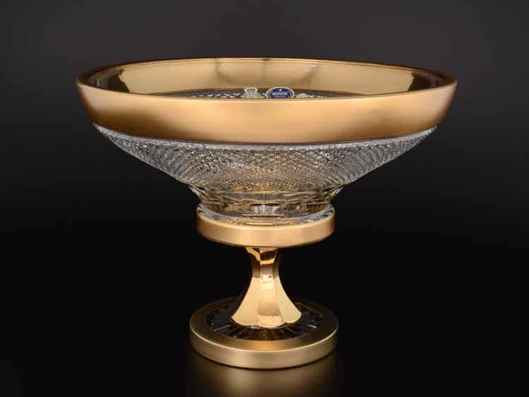 Фелиция Sonne Crystal Золото Ваза для фруктов 35 см на ножке