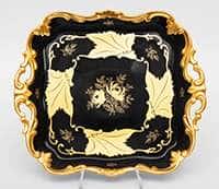 Блюдо квадратное 30 см Кленовый лист синий Weimar