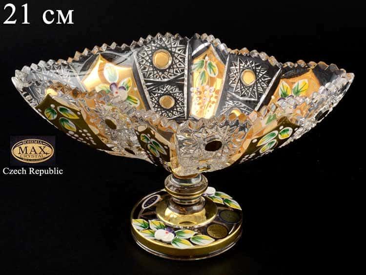 Max Crystal золото лепка Конфетница на ножке 21 см