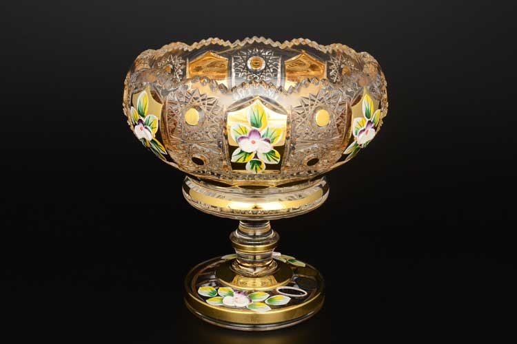 Max Crystal золото лепка Варенница 15 см на ножке