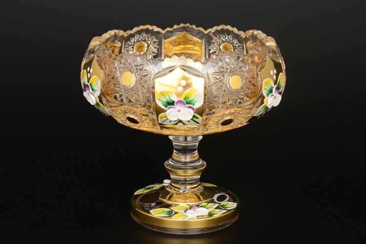 Max Crystal золото лепка Варенница 13 см на ножке