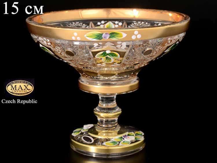 Max Crystal Золото лепка Конфетница 15 см на ножке