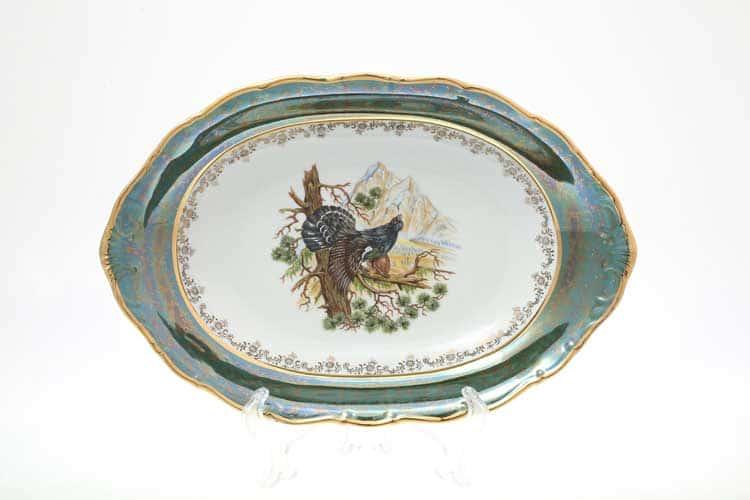 Охота Зеленая Блюдо для хлеба 36 см Sterne porcelan