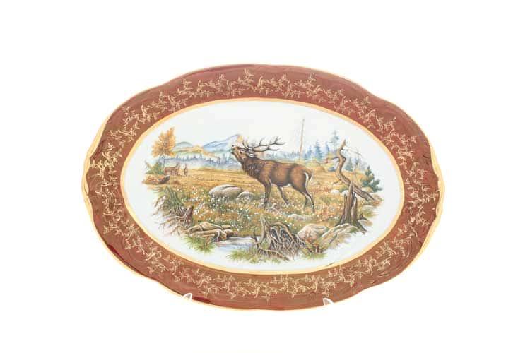 Охота Красная Блюдо овальное 33 см Sterne porcelan