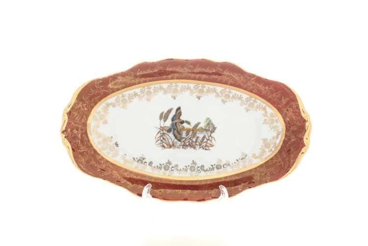 Охота Красная Блюдо овальное 24 см Sterne porcelan