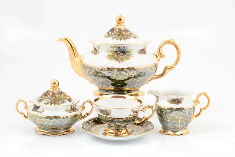 Охота Зеленая Чайный сервиз 17 предметов Sterne porcelán
