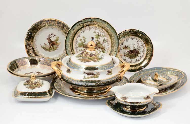 Охота Зеленая Столовый сервиз 27 предметов Sterne porcelán