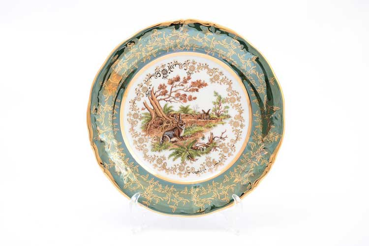 Охота Зеленая Набор тарелок 19 см Sterne porcelan