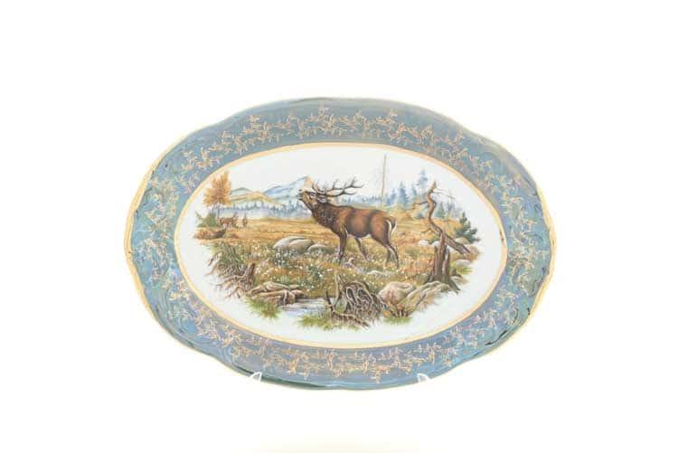 Охота Зеленая Блюдо овальное 33 см Sterne porcelan