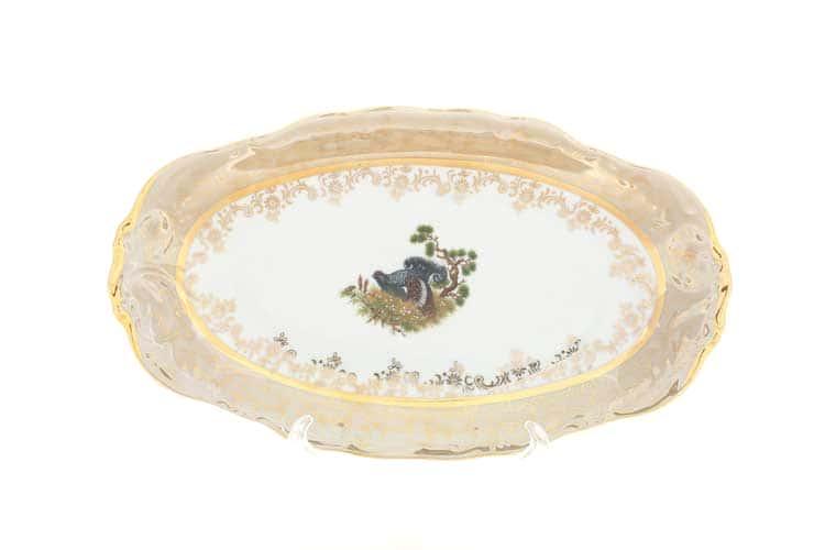 Охота Бежевая Блюдо овальное 24 см Sterne porcelan