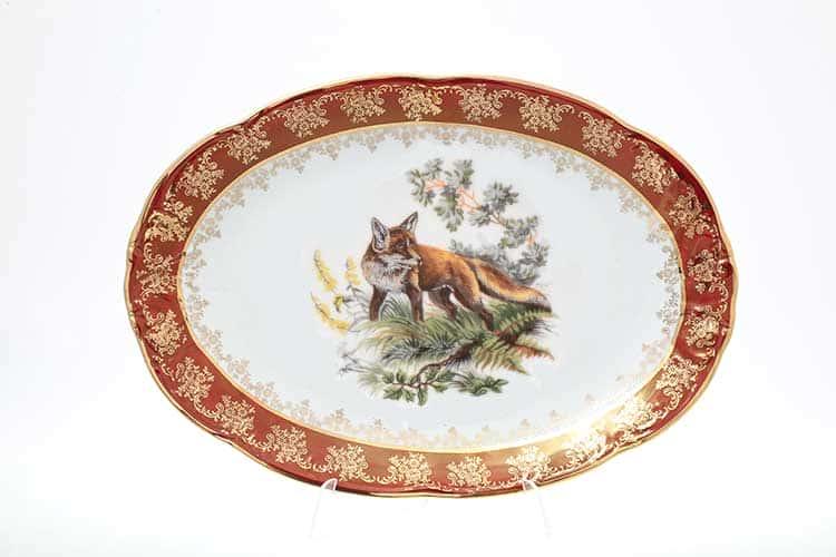 Офелия Красная охота Блюдо овальное 32 см Moravec