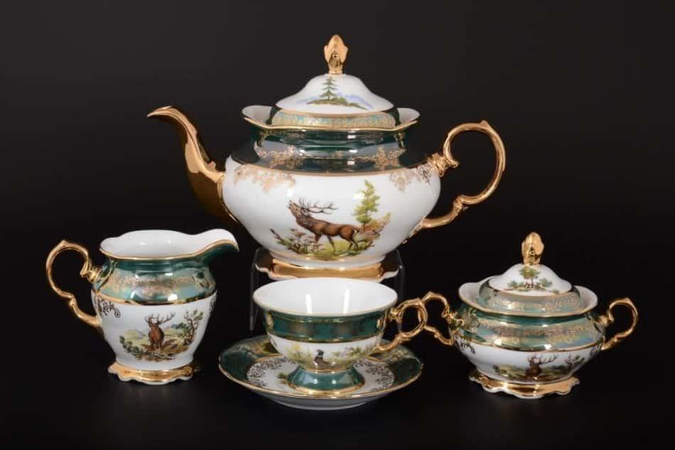 Охота зеленая Чайный сервиз на 6 персон 17 предметов SYKORA