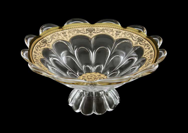 Bohemia Libochovice Floras Empire Gold. Ivory Фруктовница на ножке 30 см Astra Gold