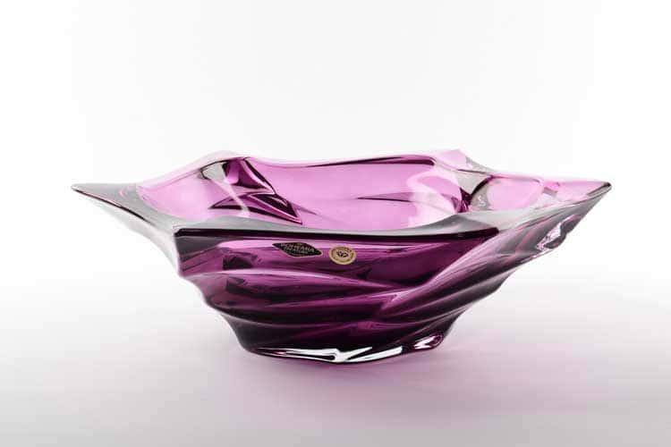Фламенко фиолетовая Фруктовница Bohemia Treasury 33 см
