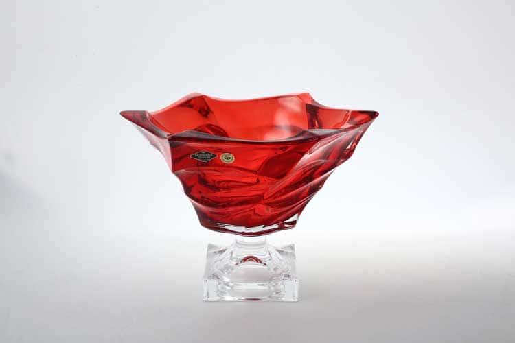 Flamenco красная Фруктовница на ножке BOHEMIA TREASURY 29,5 см