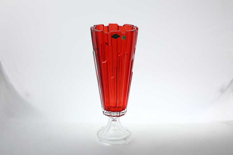 Болеро красная Ваза для цветов на ножке Bohemia Treasury 40 см
