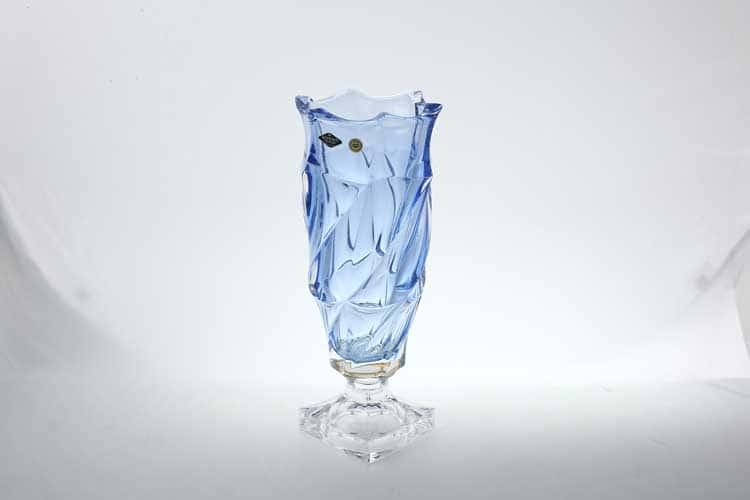 Фламенко синяя Ваза для цветов на ножке Bohemia Treasury 38 см