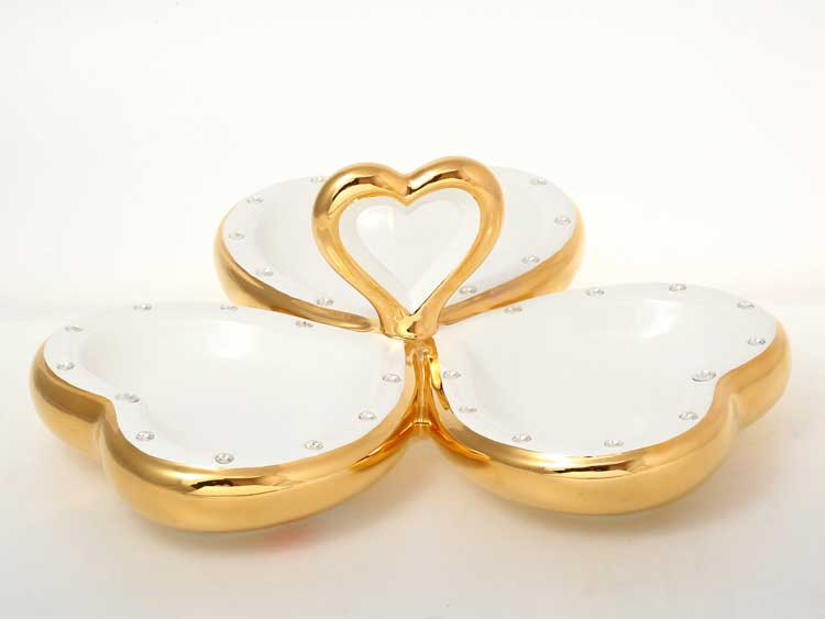 Венеция Конфетница белая с золотом с кристаллами d-39, h-14 см Bruno Costenaro