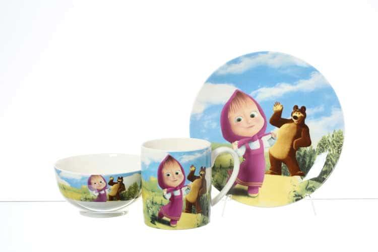 Маша и Медведь Детский набор посуды 3 предмета Royal Classics