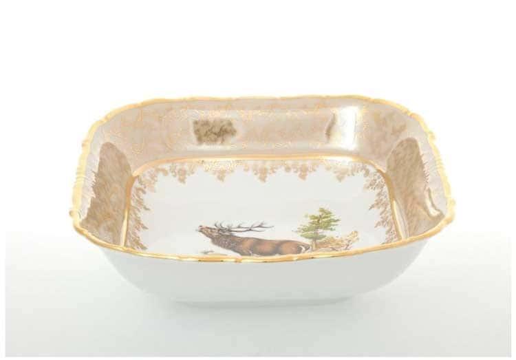Охота Бежевая Салатник квадратный 25 см Sterne porcelan