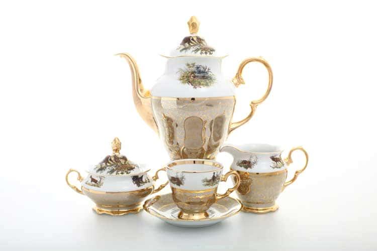 Охота Бежевая Кофейный сервиз на 6 персон 17 предметов Sterne porcelan