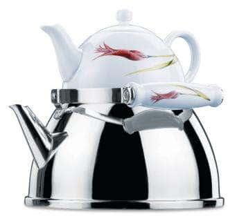 Чайная пара Lalezar Tea: чайник из нержавеющей стали 2000 мл, заварник из фарфора 1100 мл