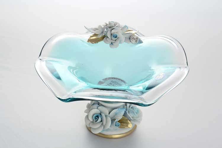 Голубые розы Ваза для конфет на ножке 24 см White Cristal