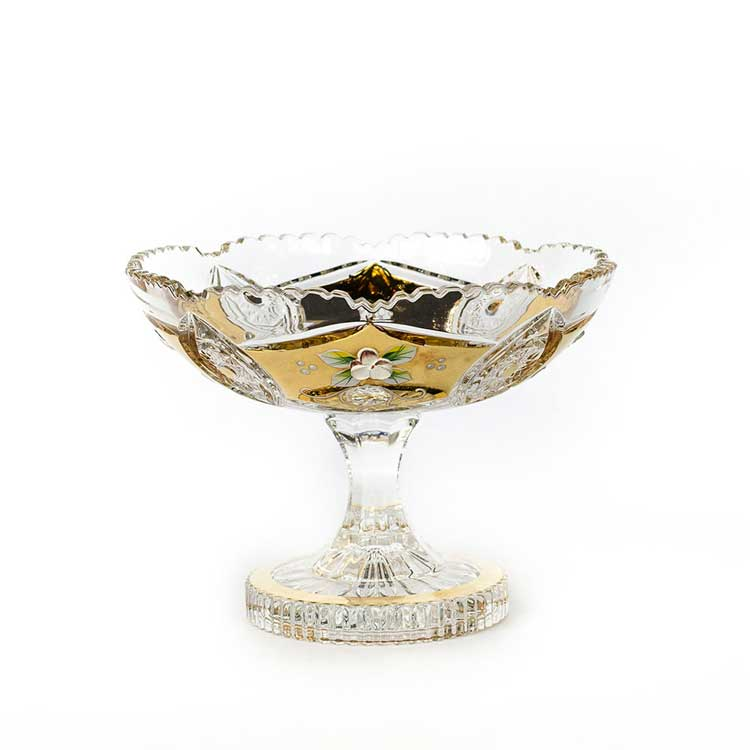 Хрусталь с золотом 60111 Ваза для фруктов Acrystal 20,5 см