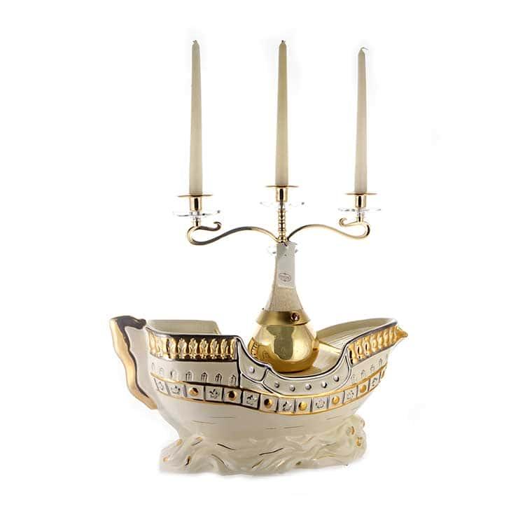 Корабль Подсвечник на 3 свечи Gin Lux