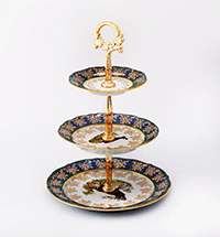 Горка 3-х ярусная Охота зеленая Bavarian Porcelain