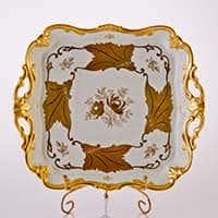 Блюдо квадратное 30 см Кленовый лист белый Weimar