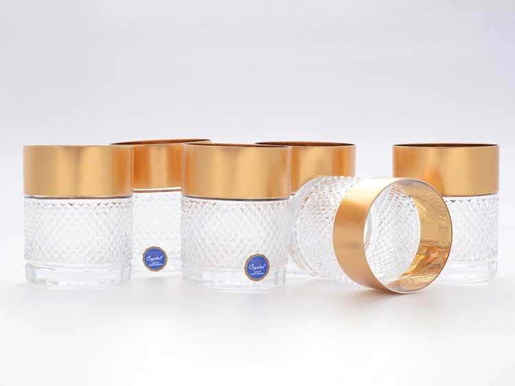 Набор стаканов для виски Gold Crystal 320 мл (6 шт)