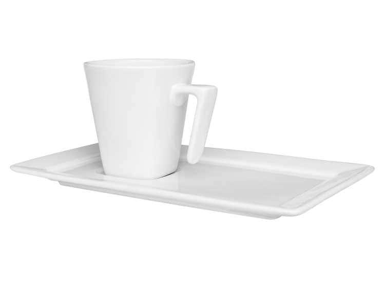 Чайная пара (чашка + блюдце) Oxford белый 200 мл квадрат
