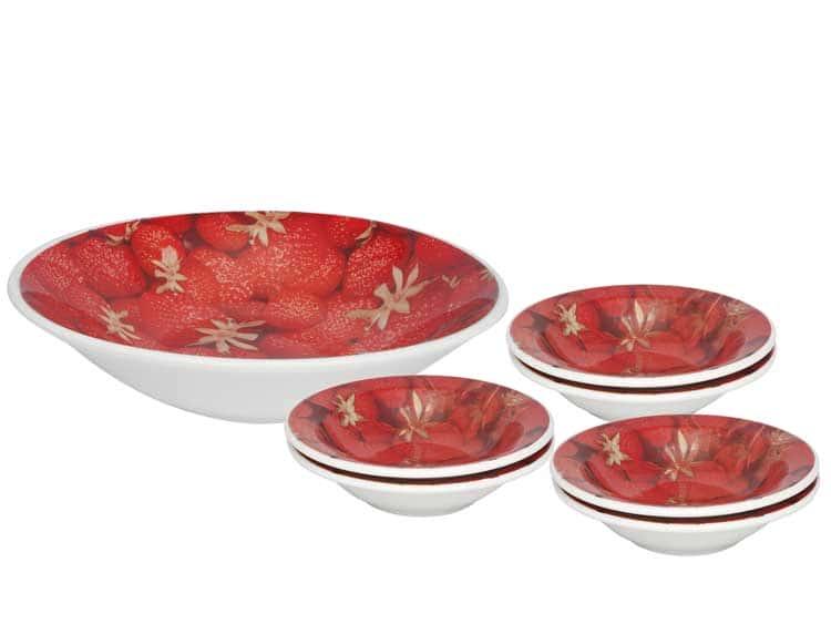 Десертный набор Oxford 7 предметов (тарелка для фруктов + 6 десертных тарелок) красный