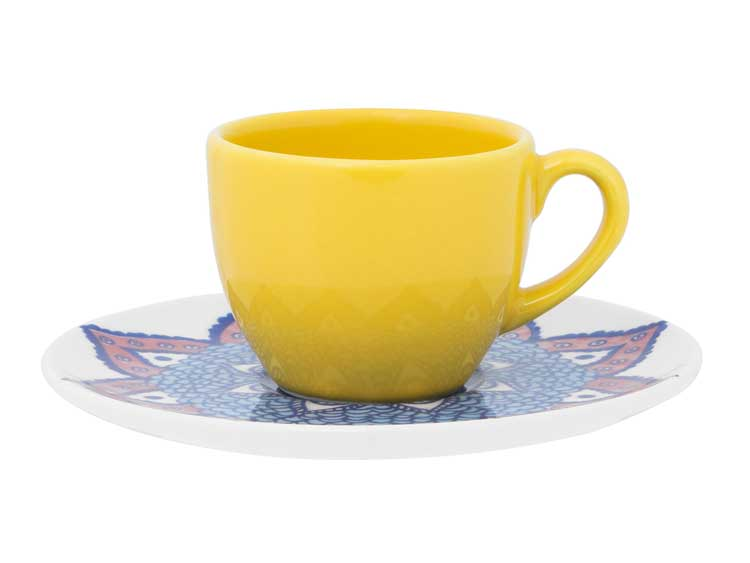 Кофейная пара Oxford желтый(чашка + блюдце) 75 мл