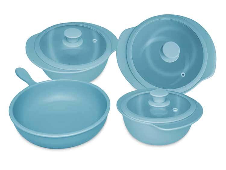 Набор кастрюль Oxford голубой 4 предмета (3 кастрюли, 1 сотейник)