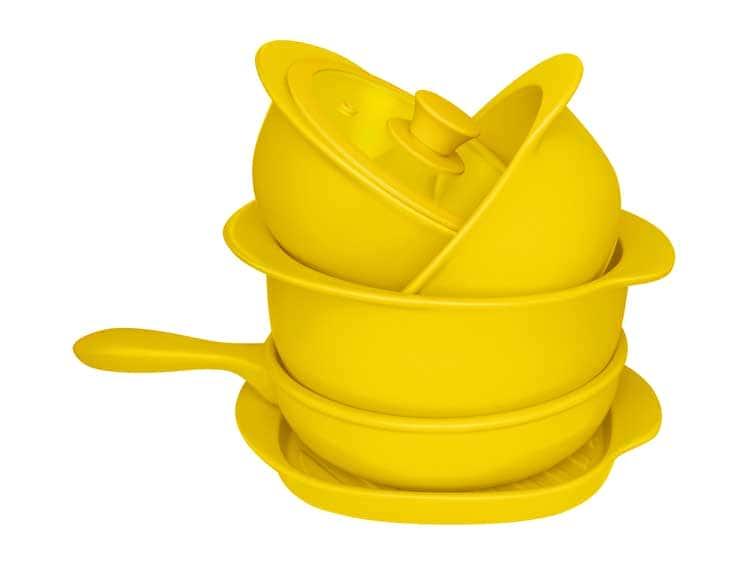 Набор Oxford желтый 5 предметов (3 кастрюли, 1 сотейник, 1 сковорода гриль)