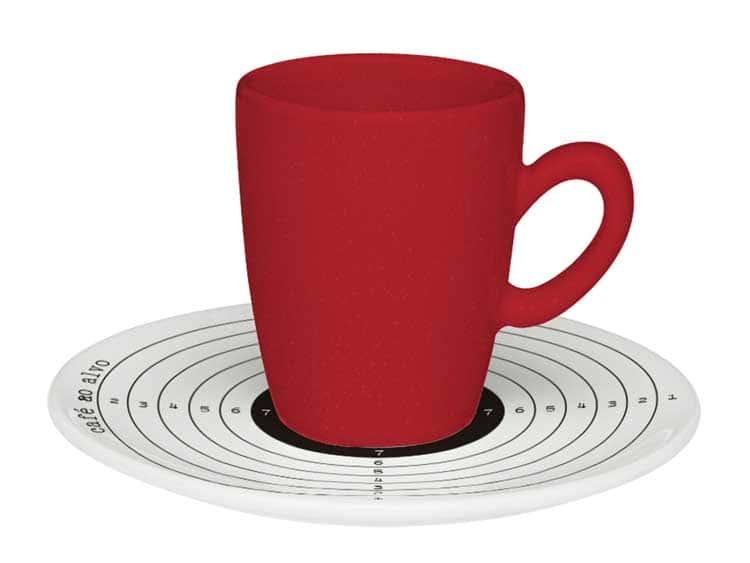 Набор кофейный для эспрессо Oxford красный на 6 персон (6 чашек + 6 блюдец)