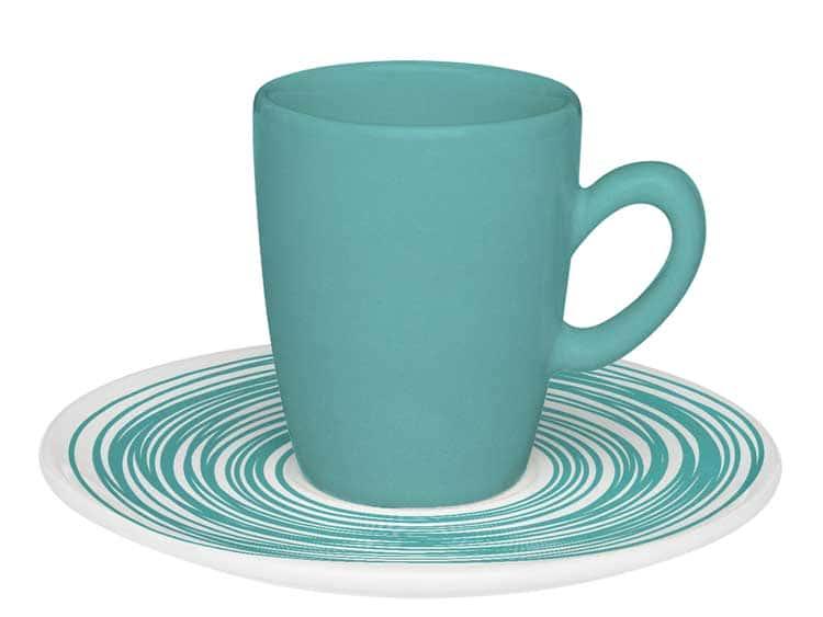 Набор кофейный для эспрессо Oxford голубой на 6 персон (6 чашек + 6 блюдец)