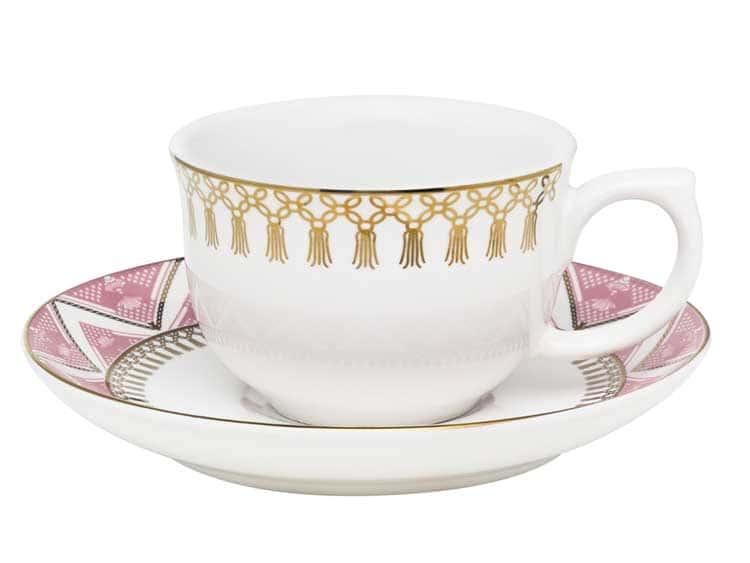 Чайная пара (чашка + блюдце) Oxford розовый узор 100 мл