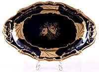 Блюдо овальное Кленовый лист синий 32 см