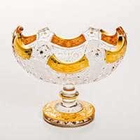 Ладья хрустальная 61108 Снежинка с золотой росписью 15,5 см Bohemia Brilliant